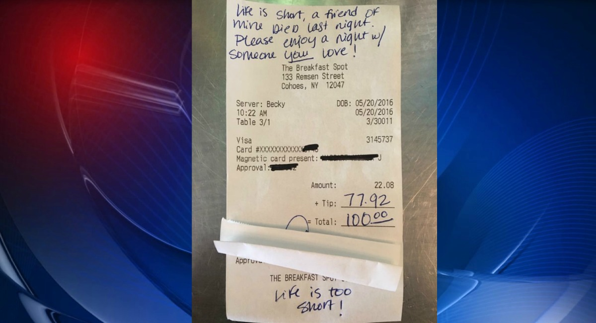 Ny Waitress Almost Brought To Tears By Generous Tip And