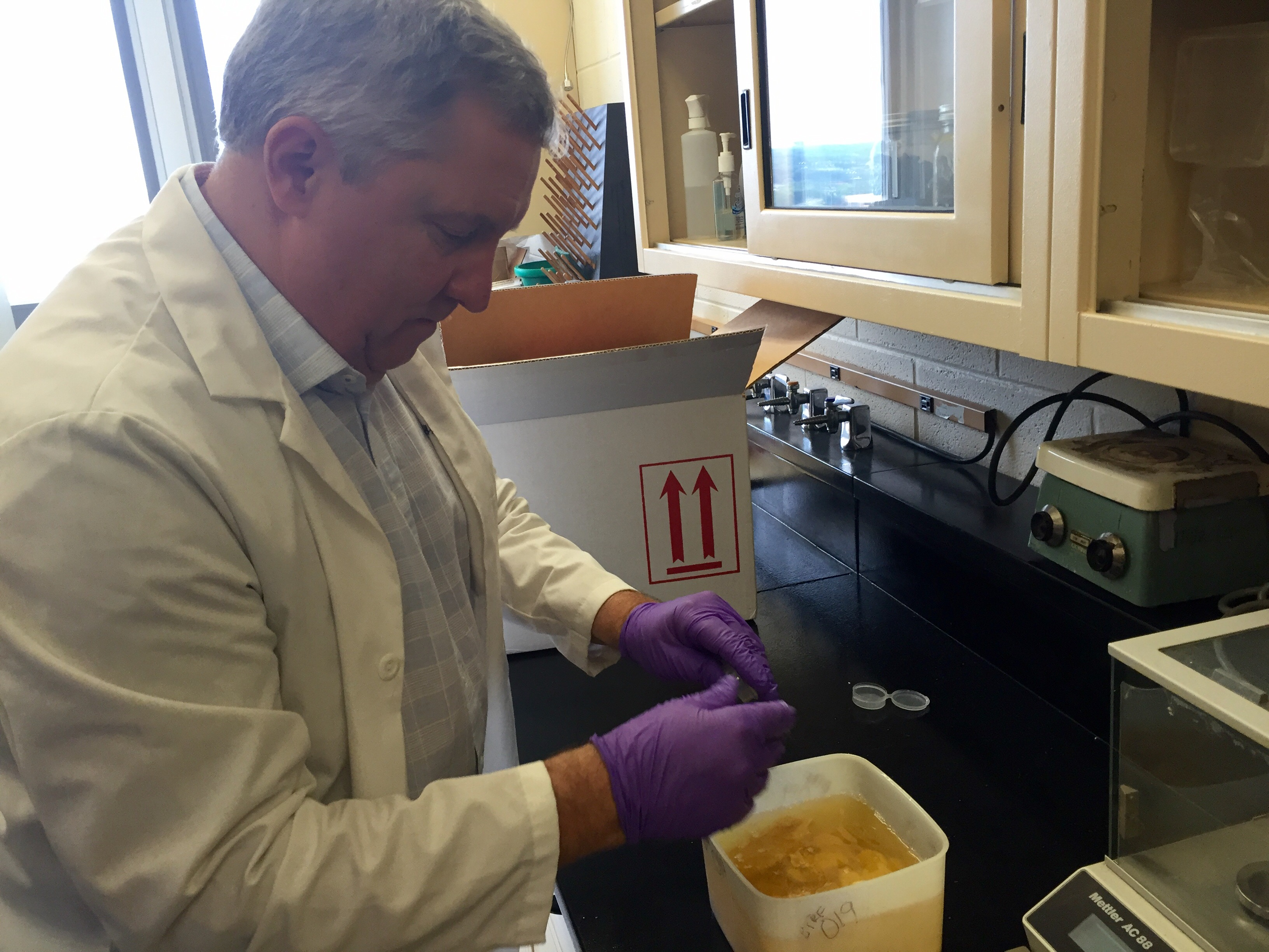 Severn Churn, Ph.D. conducts ongoing research at the VCU Brain Tissue Resource Facility.