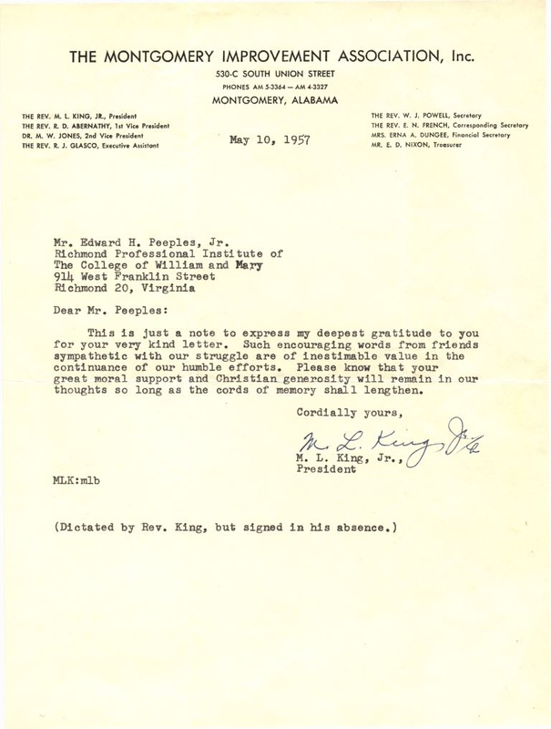 Ed Peeples received this letter from Dr. Martin Luther King, Jr. early on in his activism efforts. (Courtesy: Dr. Ed Peeples)