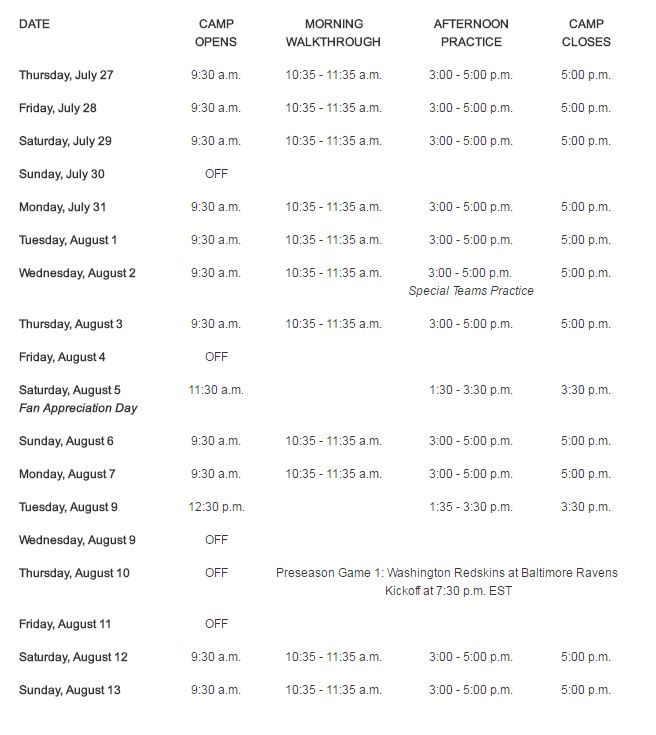 image regarding Redskins Printable Schedule referred to as Washington Redskins launch 2017 working out camp agenda