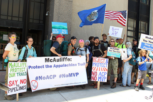 Group of hikers in front of Mcauliffe's office, Image courtesy of Chelsea Jackson, VCU CNS_423892