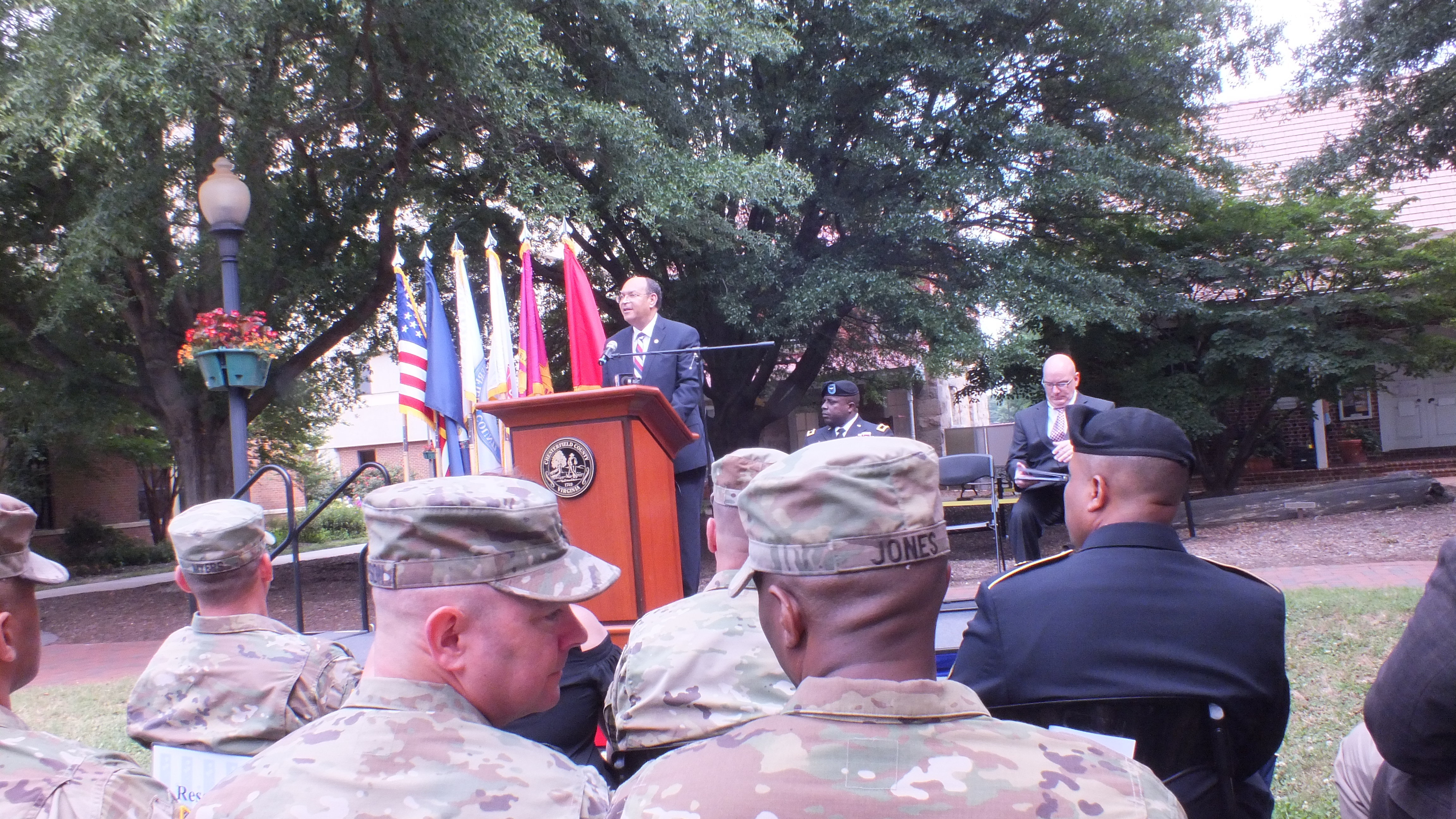 Supervisor James Holland addresses soldiers and civilians in the crowd. (Photo Courtesy: Chesterfield County)