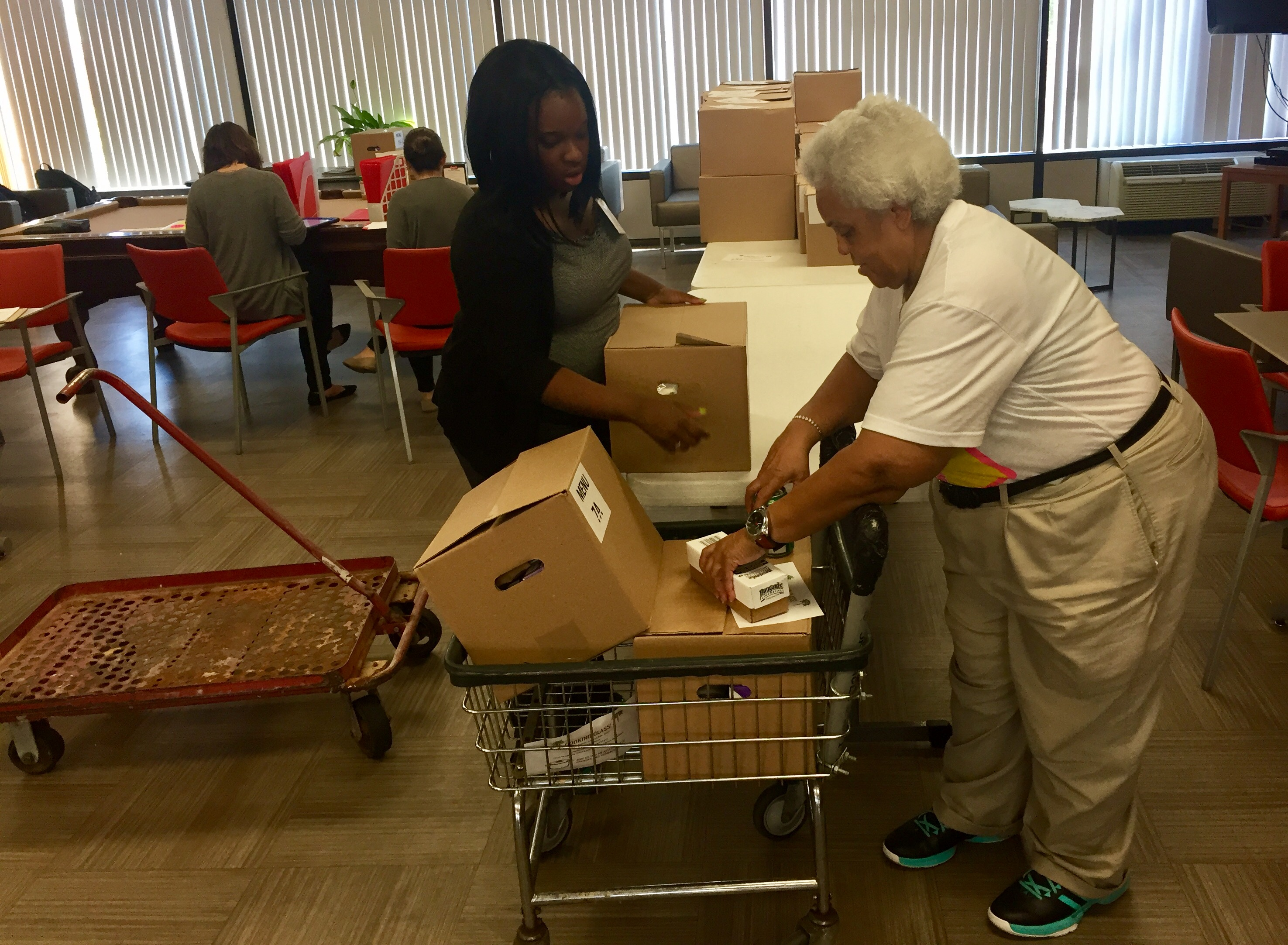 Eligible seniors receive a box of food from the USDA each month.