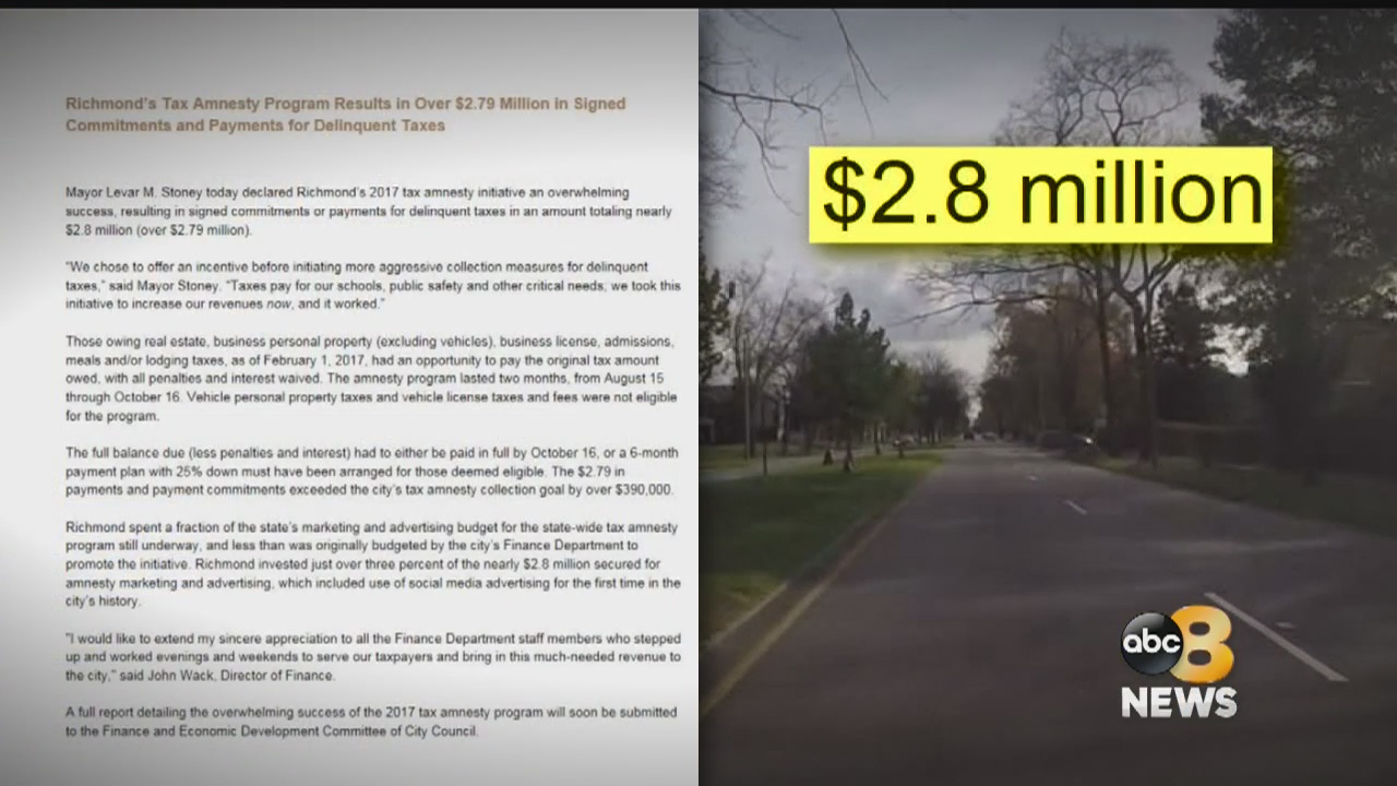 8News Investigates: Richmond's Tax Amnesty Program touted as