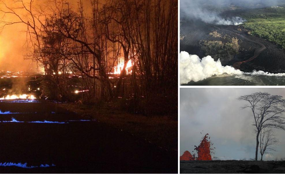 Volcano generates blue flames
