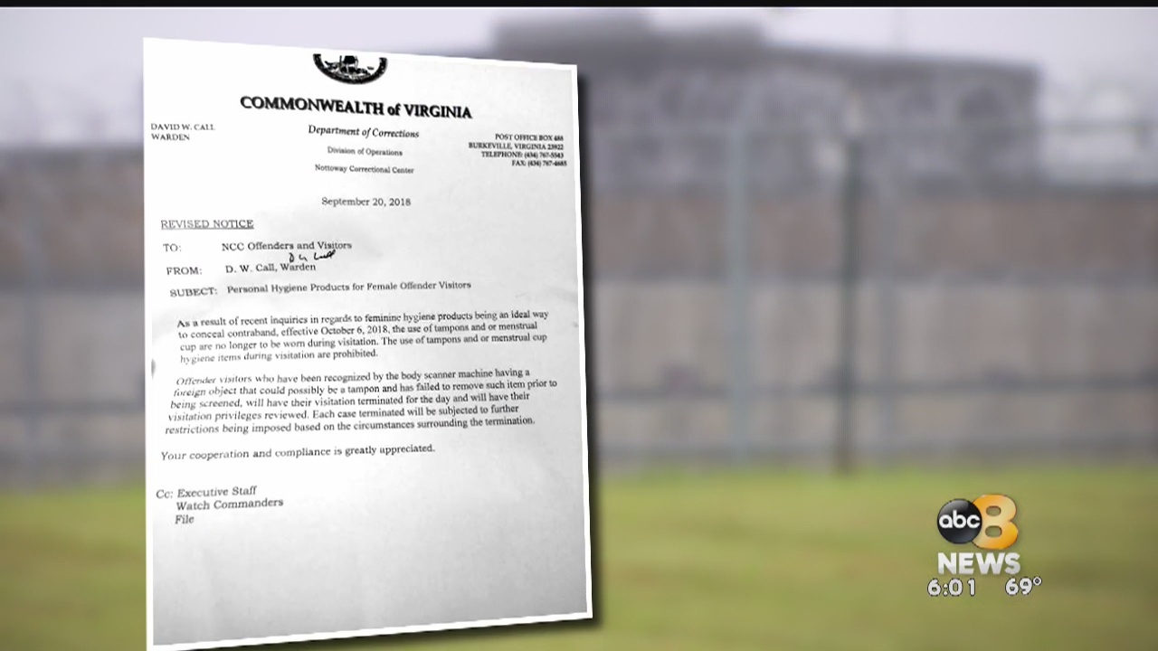 Virginia halts tampon ban for state prison visitors
