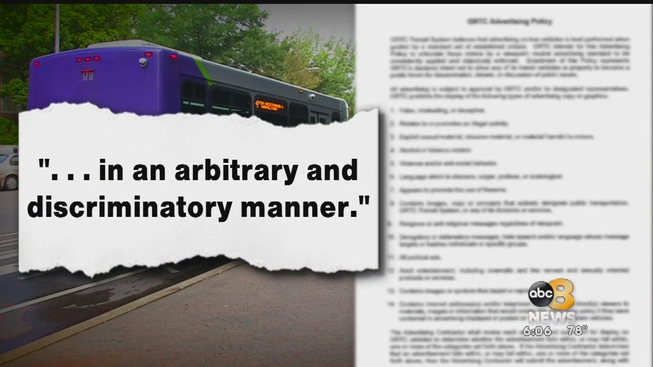 A lawsuit against GRTC is moving forward and it could have a big impact on what transit company can or can't ban from its buses.