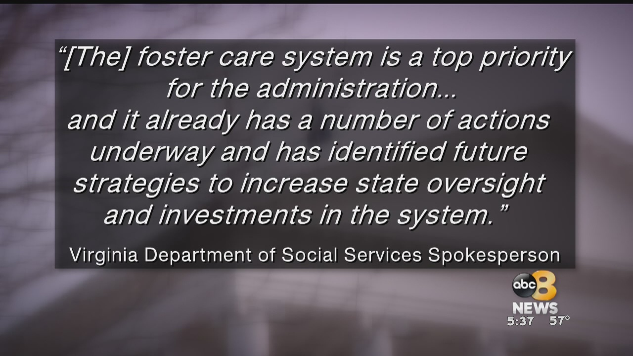 According to a recently released report byJLARC, there were about 5,300 children in the foster care system in 2016. That number is about the same, a spokesperson for the Department of Social Services says.