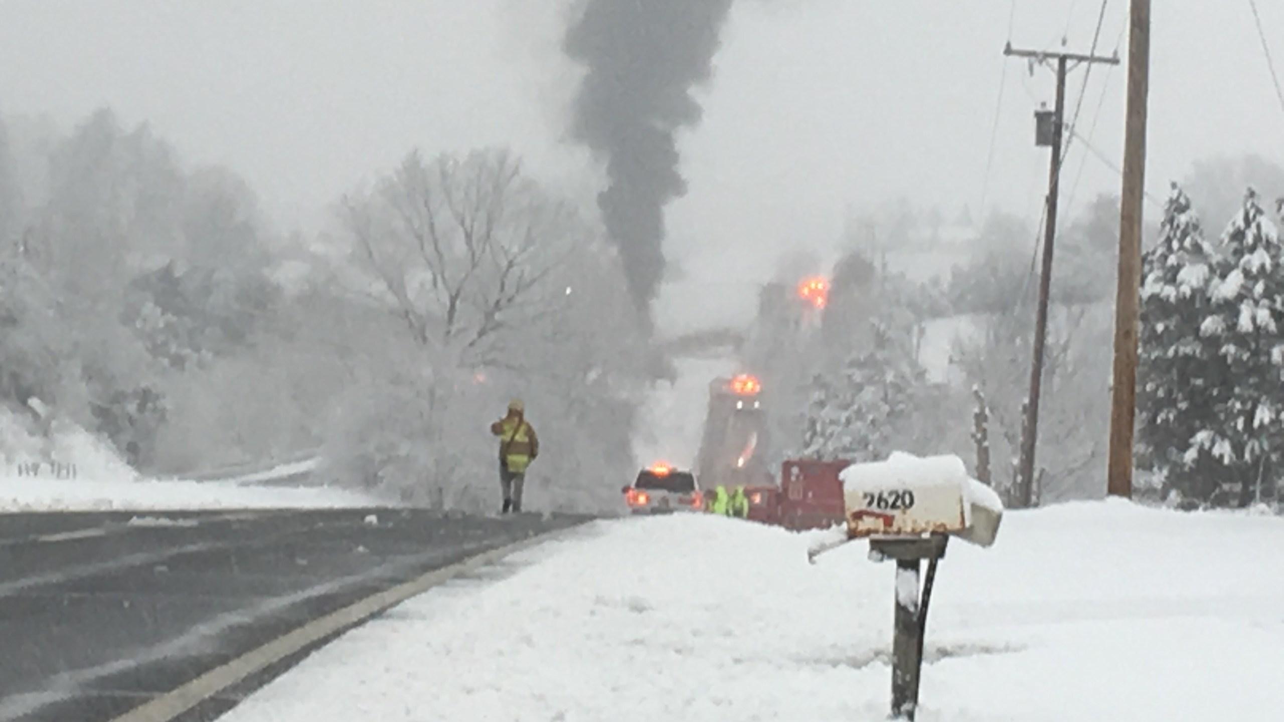 VIDEO: Fuel tanker fire shuts down Virginia highway