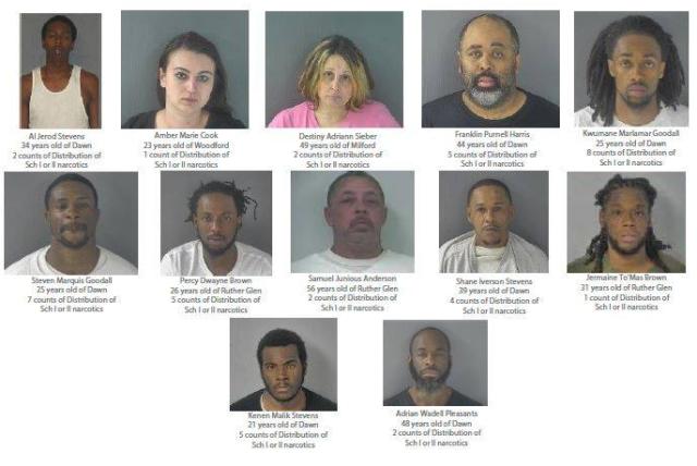 Caroline County drug operation results in 12 arrests
