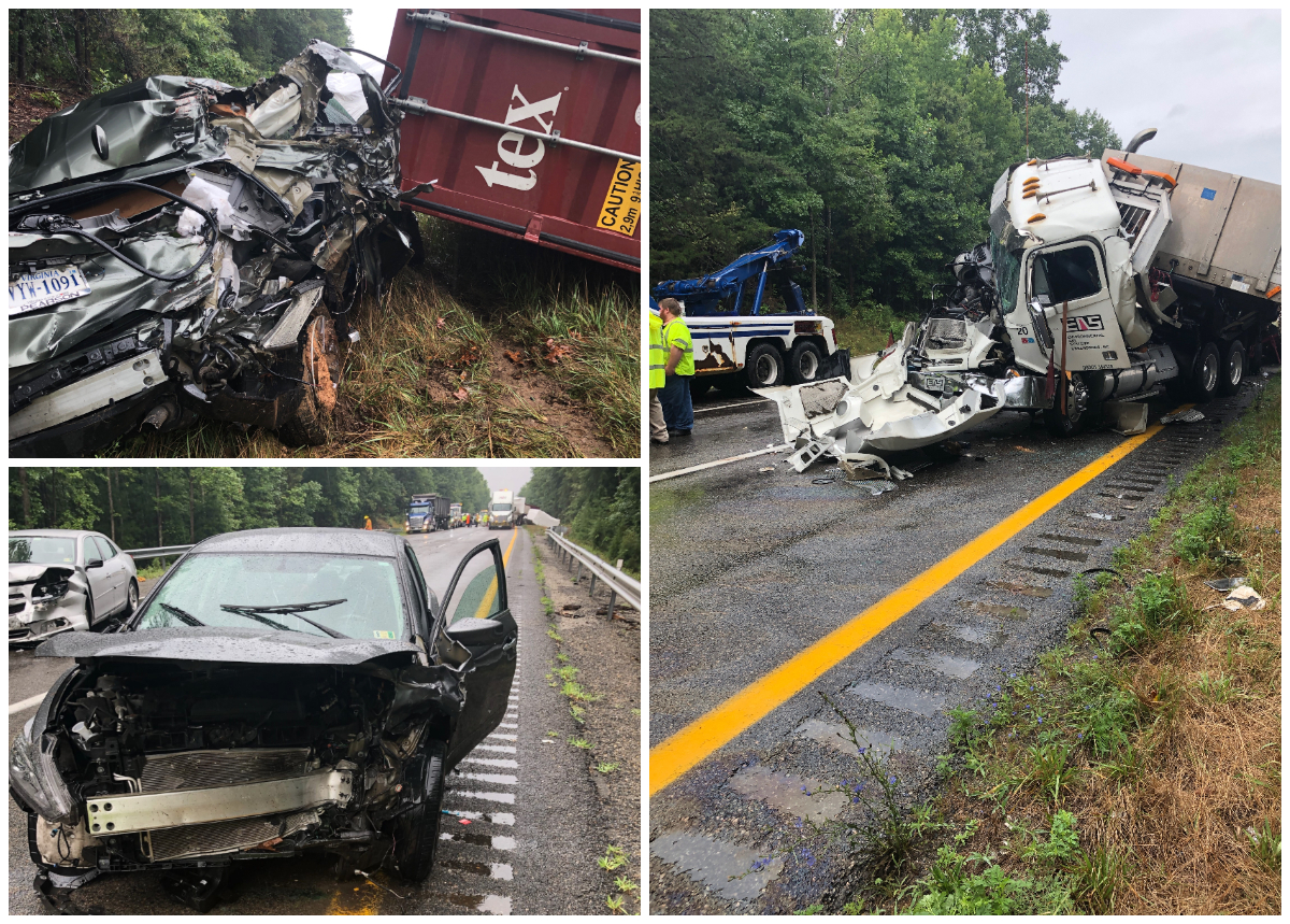 Chain-reaction crashes on I-64 in Goochland send 7 to the