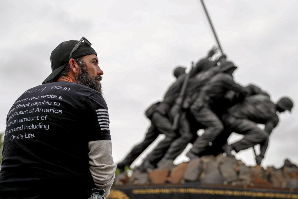 Marine Corps War Memorial in Arlington, Virginia on Memorial Day