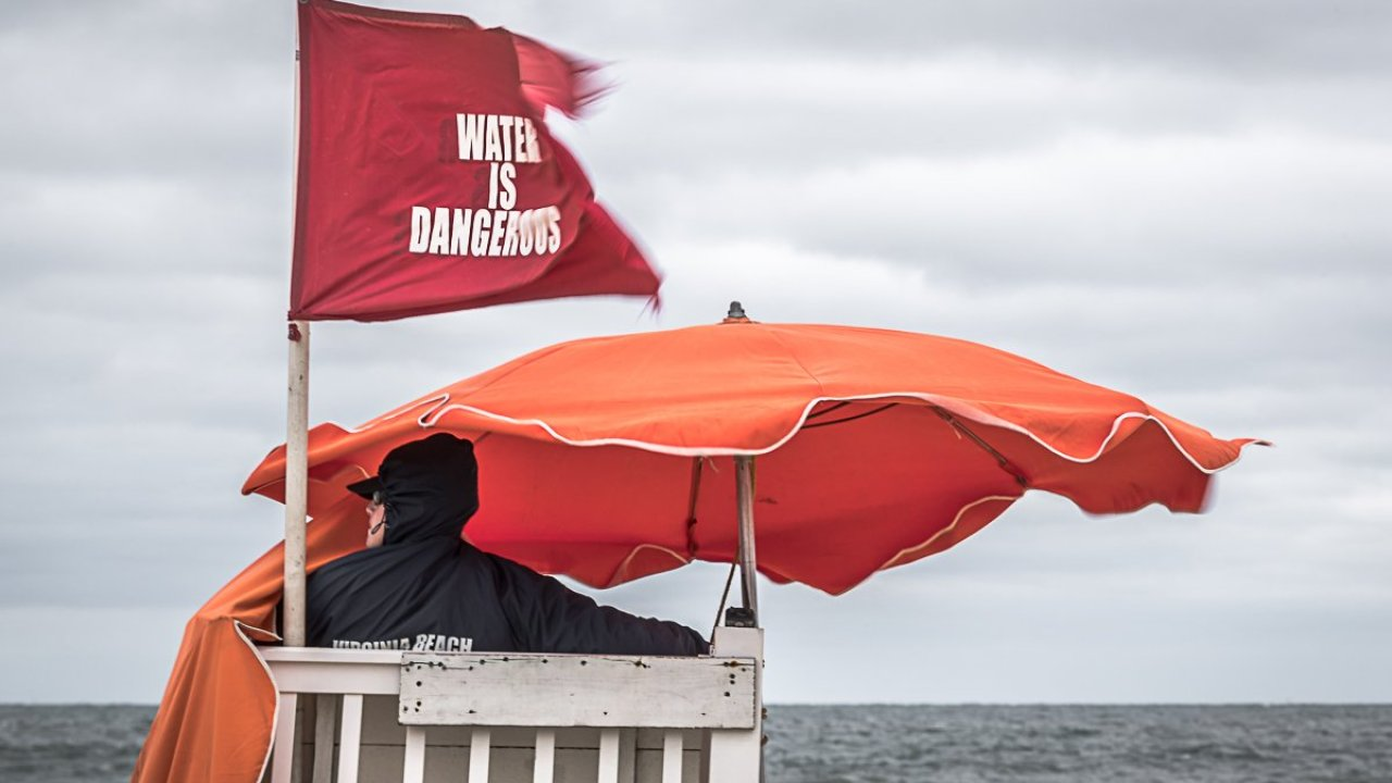 Virginia Beach flying red flags at Sandbridge beach