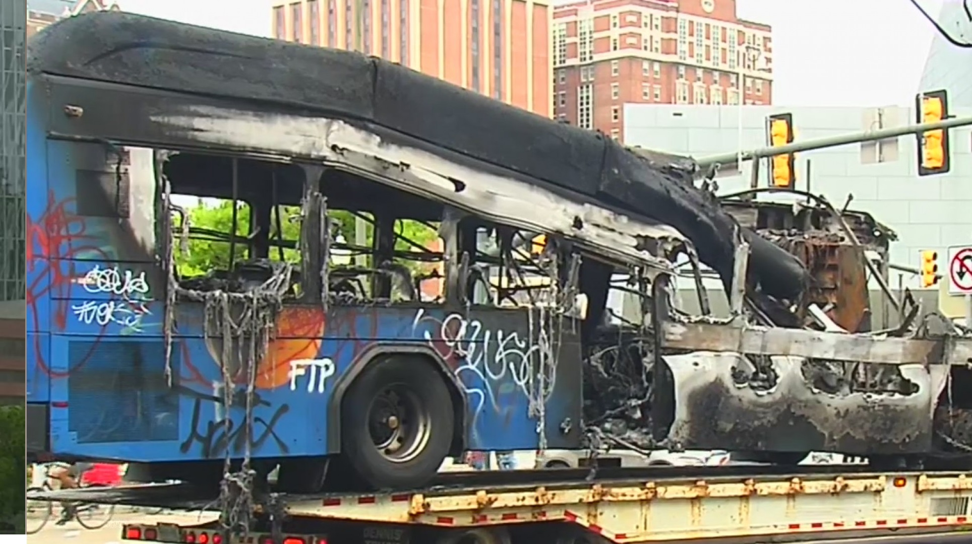 Burnt GRTC Pulse bus on broad street