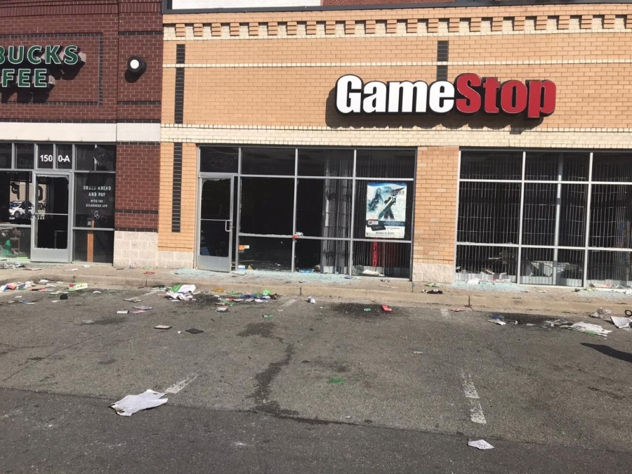 The Game Stop off West. Grace St. in Richmond after Saturday night riots