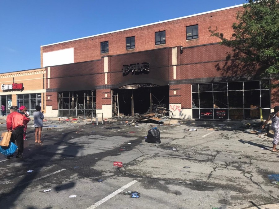 Stores off of West Grace street after being set on fire and looted