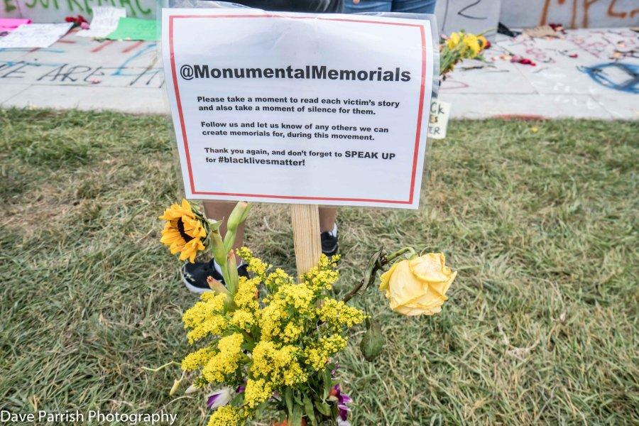 Photos of memorials on monument avenue