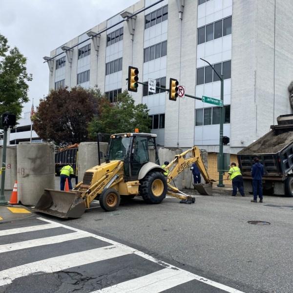 Barricades at Richmond Police Headquarters
