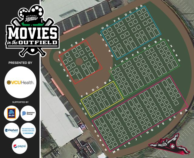 Richmond flying squirrels' movies in the field seating