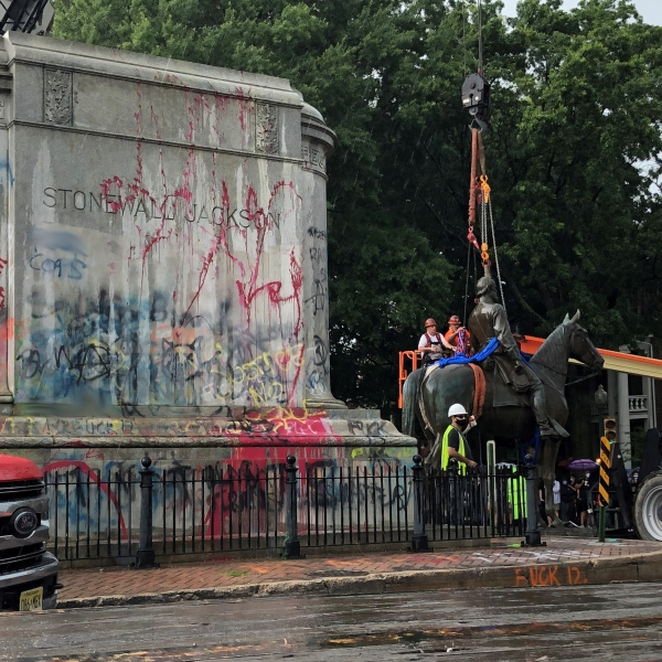 The Stonewall Jackson statue was removed today from its pedestal