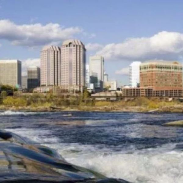 Richmond city skyline over the James river