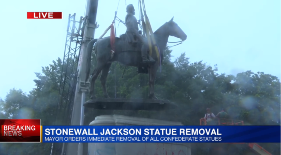 The Stonewall Jackson statue has been removed from its pedestal on Richmond's Monument Avenue. The monument to the Civil War general was erected in 1919 and stood in the city for more than 100 years.