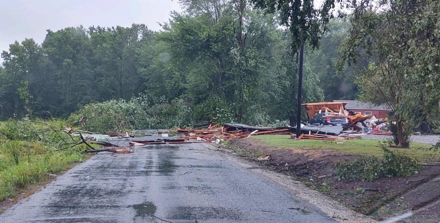 Debris blocking the roadway in Lancaster County, Va.