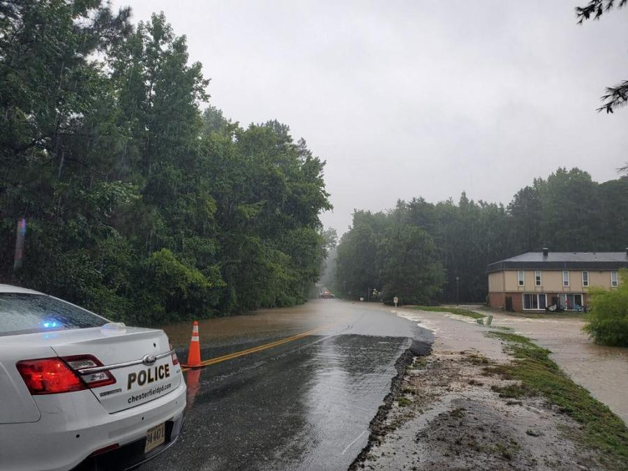 Flooding on Clover Lake Road in Chesterfield County