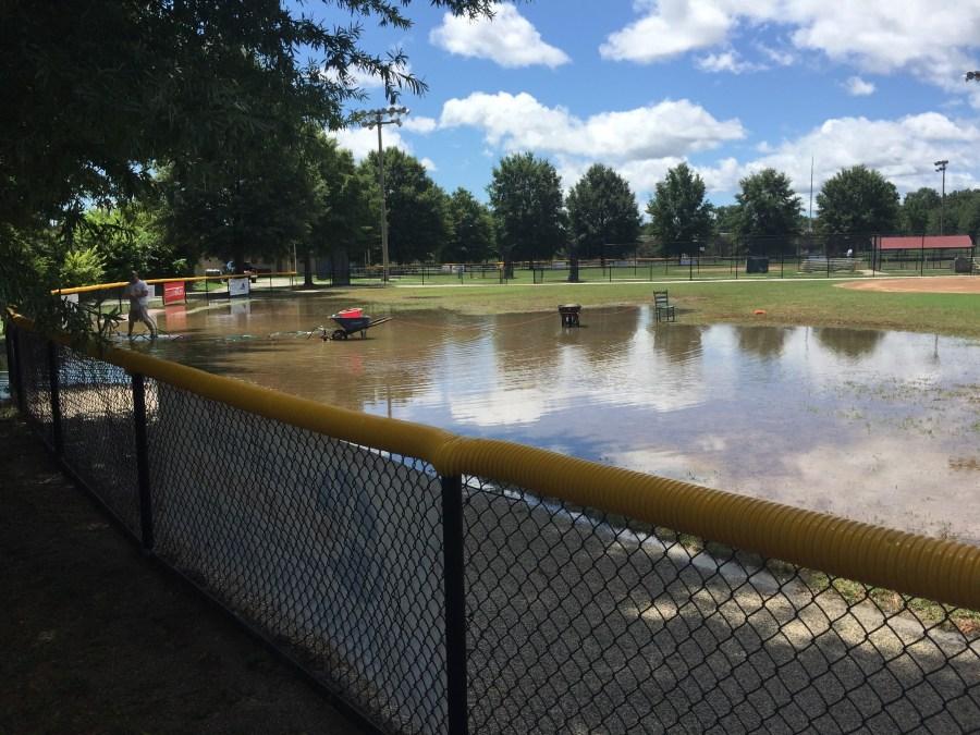 Flooding at a community baseball