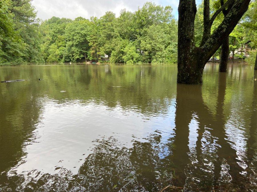 A creek overflows near Davis Lane in Hopewell