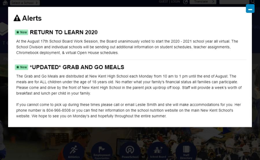 Note on New Kent County Public Schools website