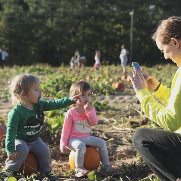 woman taking photo of her kids at a pumpkins patch fall fu