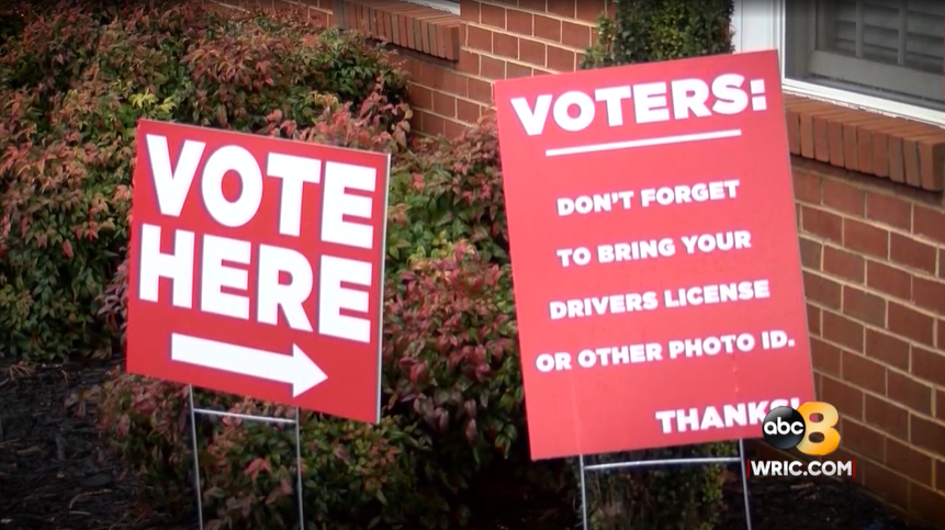 Signs outside of a voting precinct