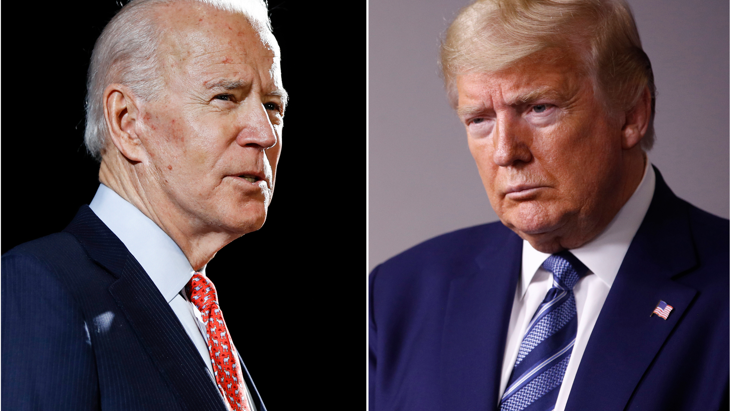 In this combination of file photos, former Vice President Joe Biden, left, speaks in Wilmington, Del., on March 12, 2020, and President Donald Trump speaks at the White House in Washington on April 5, 2020. (AP Photo/File)