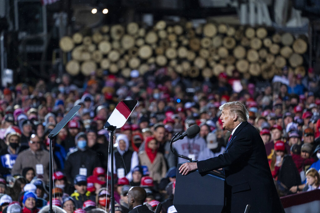 President Donald Trump speaks at a campaign rally at Duluth International Airport, Wednesday, Sept. 30, 2020, in Duluth, Minn. (AP Photo/Alex Brandon)