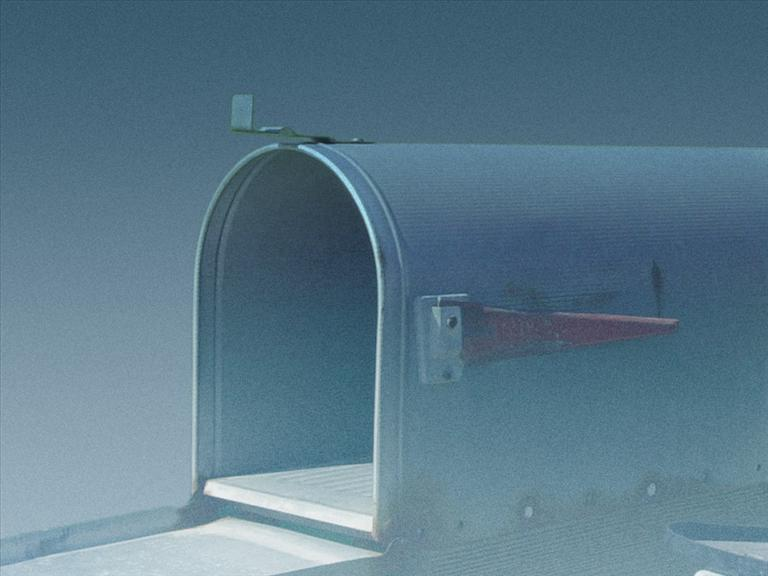 Open rural mailbox, on gradient, partial graphic