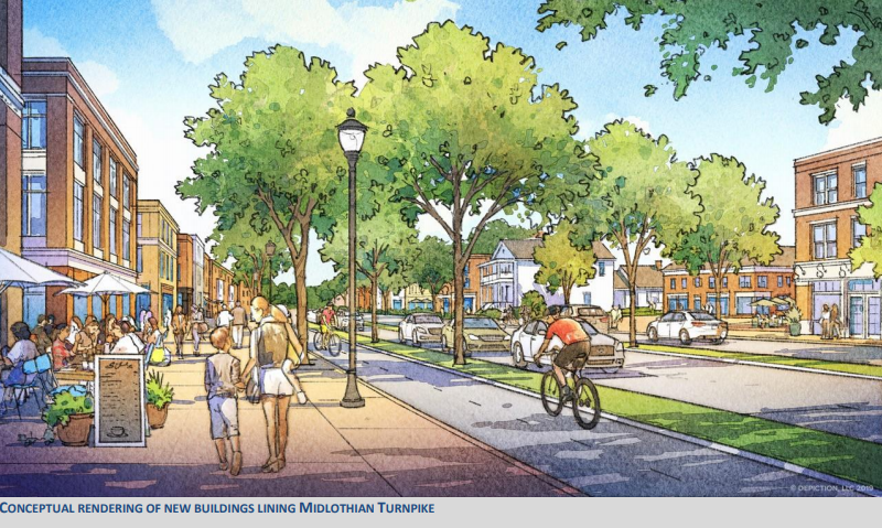 CONCEPTUAL RENDERING OF NEW BUILDINGS LINING MIDLOTHIAN TURNPIKE