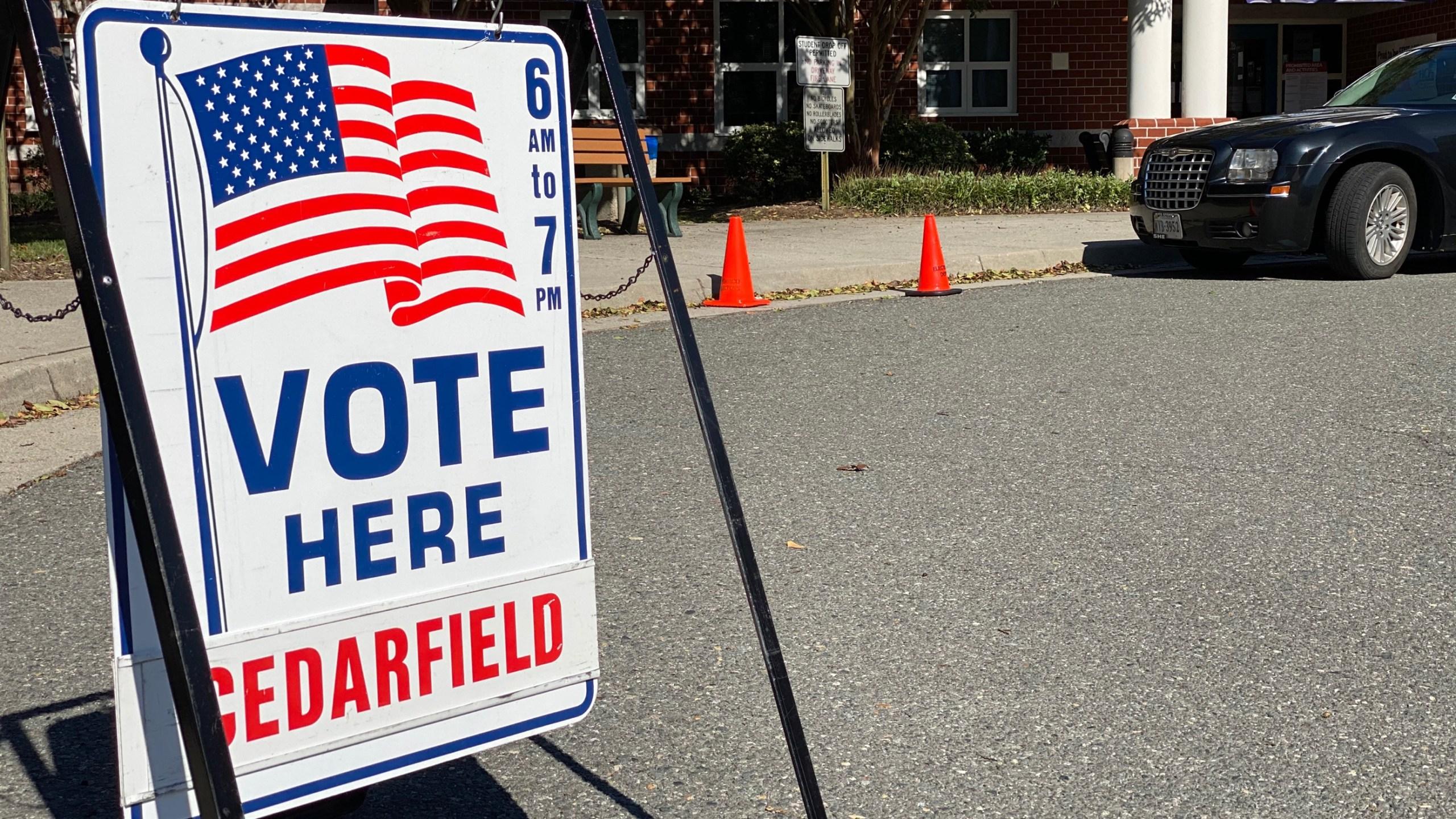 Sign at the Cedarafield polling precinct