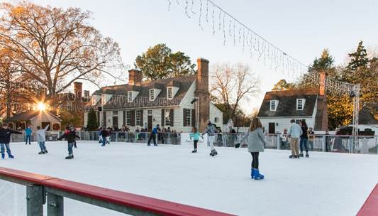 Liberty Ice Pavilion at Colonial Williamsburg's Merchants Square