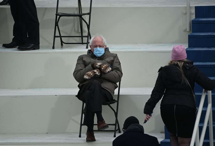 Former presidential candidate Senator Bernie Sanders (D-Vermont) sits in the bleachers on Capitol Hill before Joe Biden was sworn in as the 46th US President on January 20, 2021,