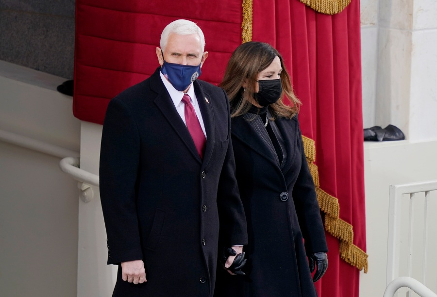 Vice President Mike Pence arrives with his wife Karen Pence
