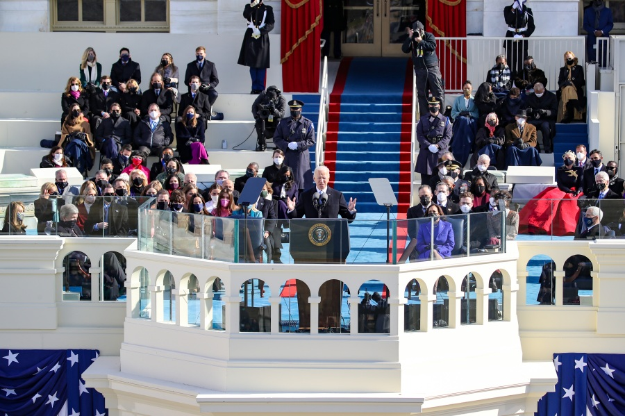 U.S. President Joe Biden delivers his inaugural address