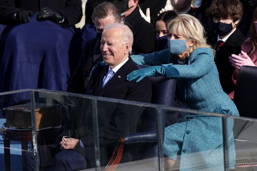 Dr. Jill Biden reacts after her husband, President Joe Biden, was sworn in