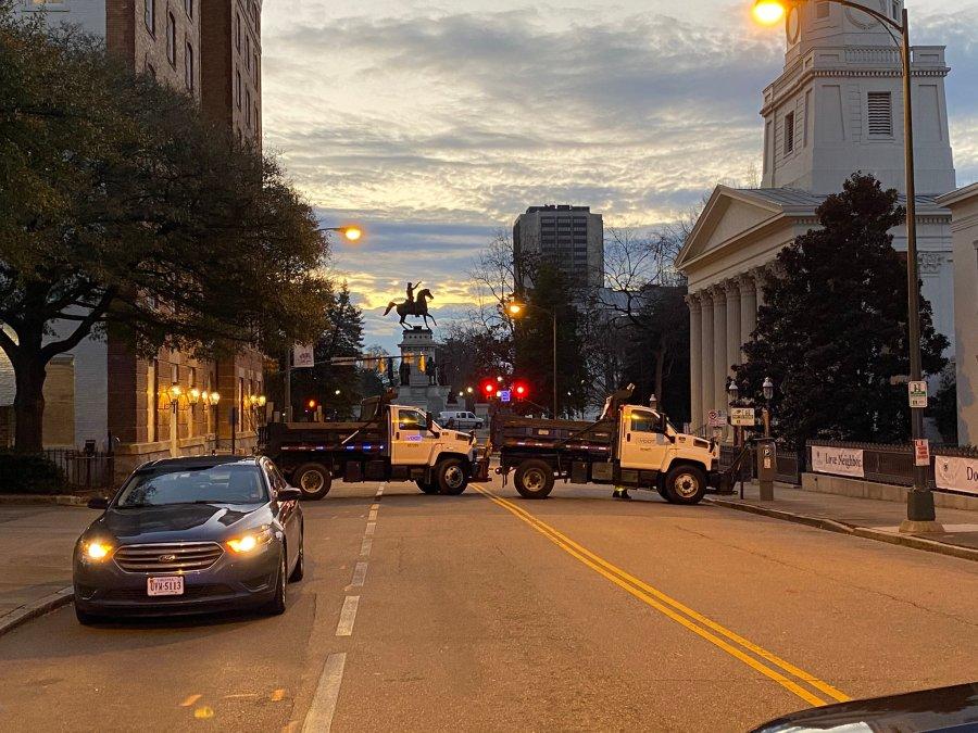 VDOT trucks blocking roads
