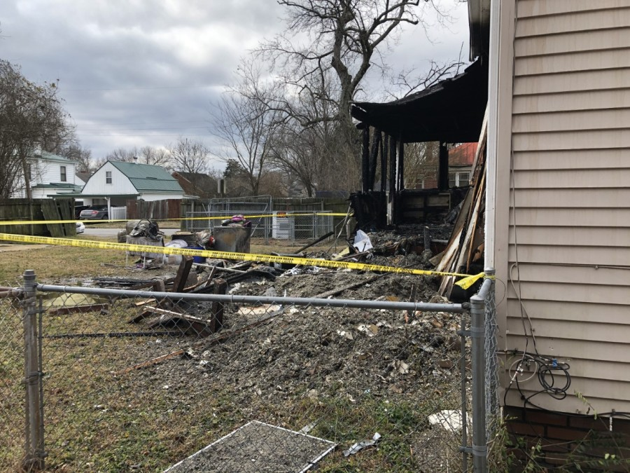 Petersburg fire back of the home