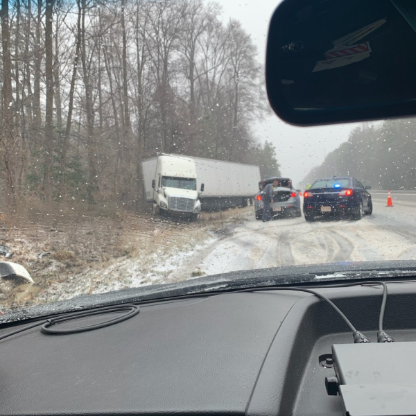 Tractor-trailer runs off the road in Hanover County. (Photo from Virginia State Police)