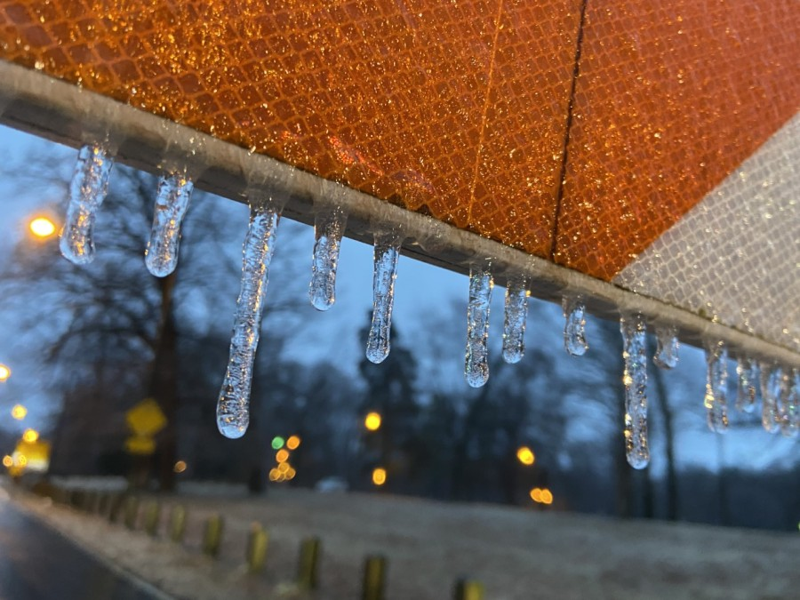 Icicles forming on a sign Thursday morning. (Photo from 8News' Autumn Childress)