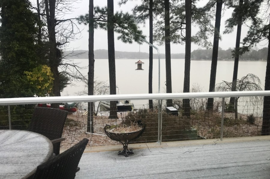 A look at snow and ice conditions from Brandermill. (Photo from Deborah Gallant)