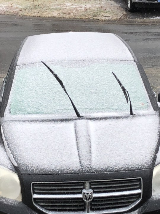 A car with snow on it in Chesterfield. (Photo from Linda Ludin)
