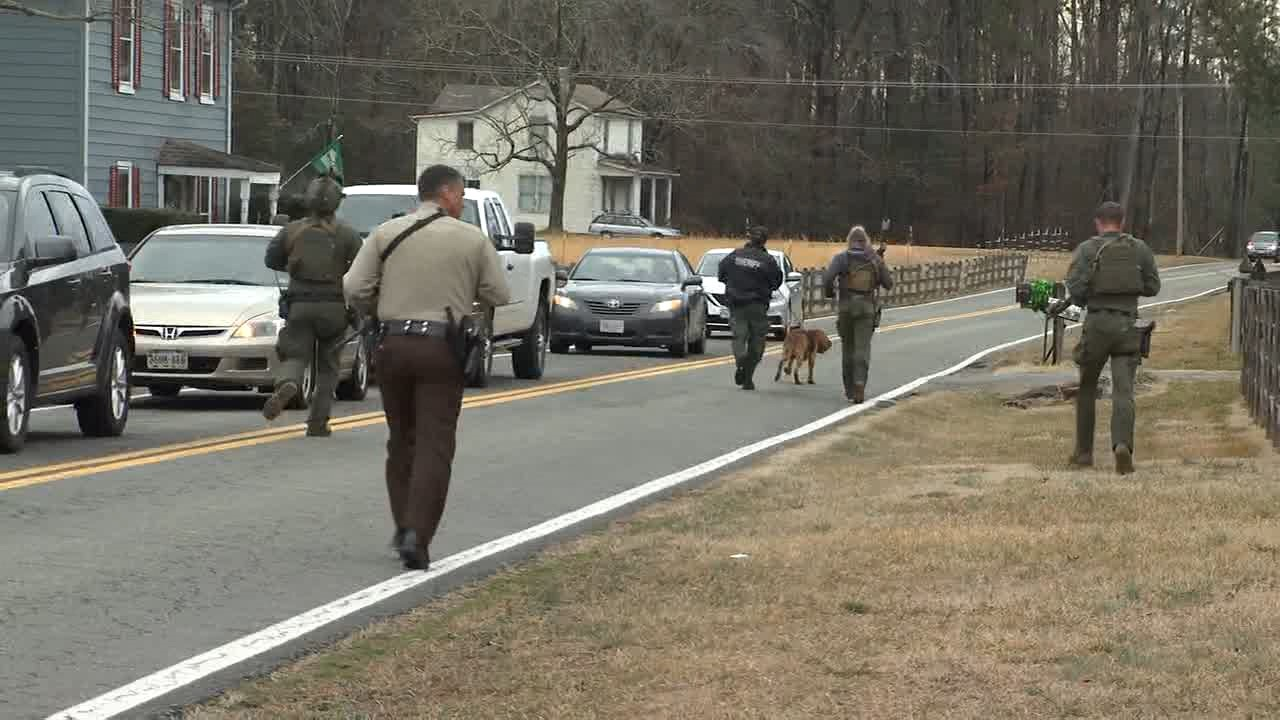 A manhunt is underway in Henrico County after a hit and run incident in Glen Allen. (Photos by 8News' Jacob Sexton)